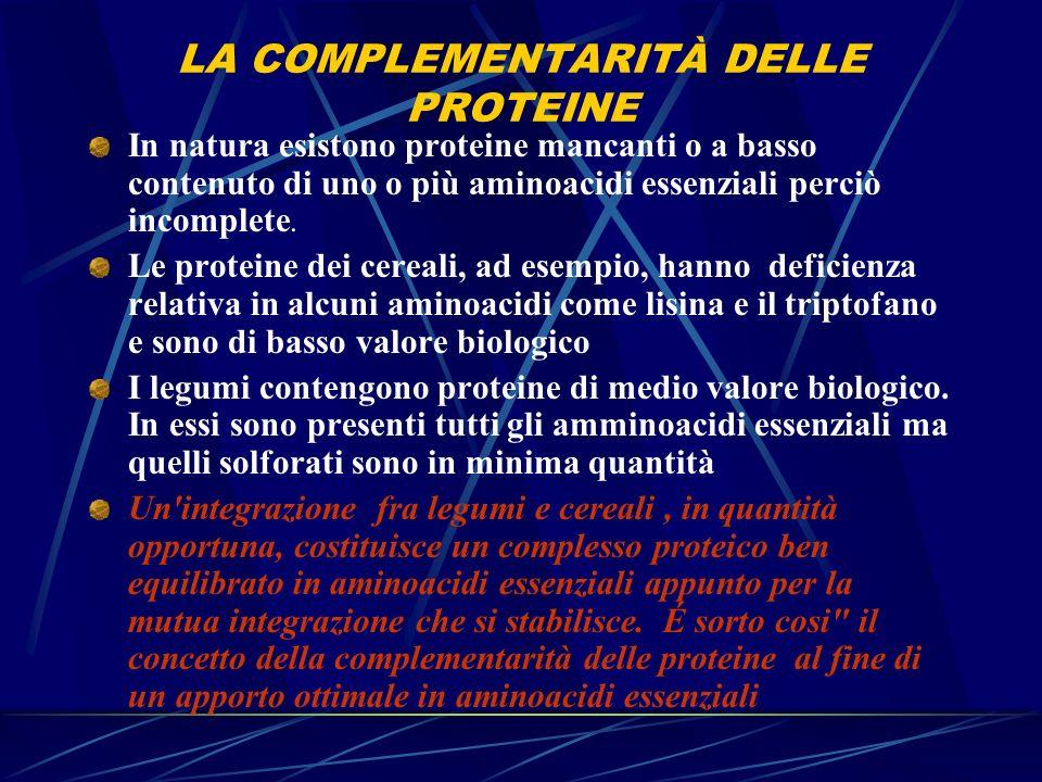 LA COMPLEMENTARITÀ DELLE PROTEINE In natura esistono proteine mancanti o a basso contenuto di uno o più aminoacidi essenziali perciò incomplete. Le pr