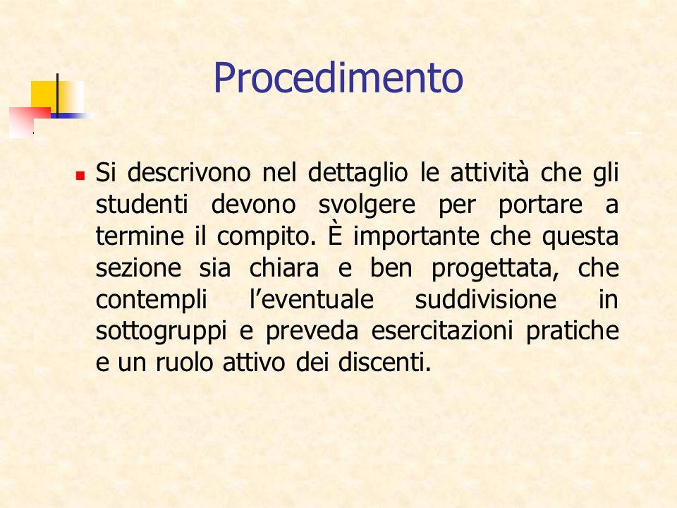 Procedimento Si descrivono nel dettaglio le attività che gli studenti devono svolgere per portare a termine il compito. È importante che questa sezion