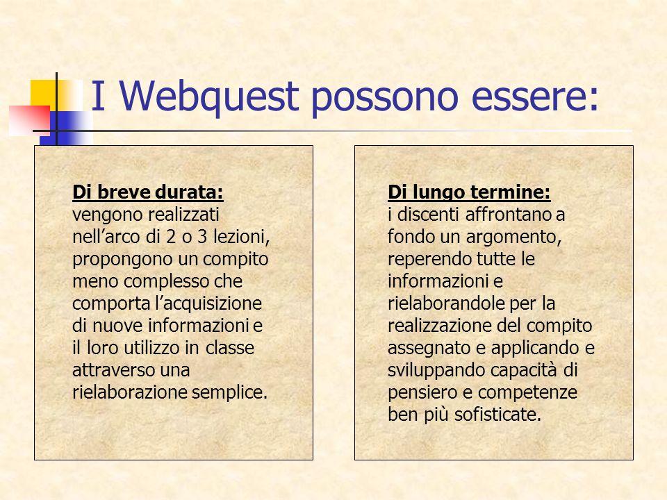 I Webquest possono essere: Di breve durata: vengono realizzati nellarco di 2 o 3 lezioni, propongono un compito meno complesso che comporta lacquisizi