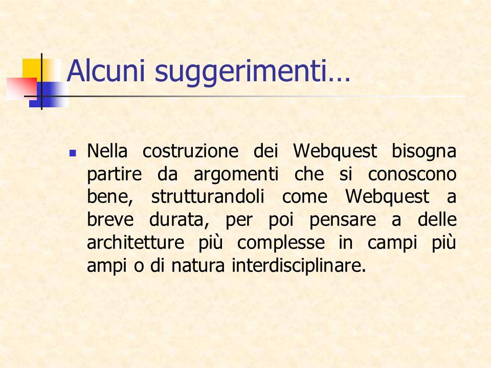 Alcuni suggerimenti… Nella costruzione dei Webquest bisogna partire da argomenti che si conoscono bene, strutturandoli come Webquest a breve durata, p