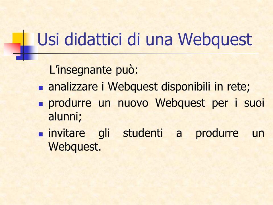 Usi didattici di una Webquest Linsegnante può: analizzare i Webquest disponibili in rete; produrre un nuovo Webquest per i suoi alunni; invitare gli s