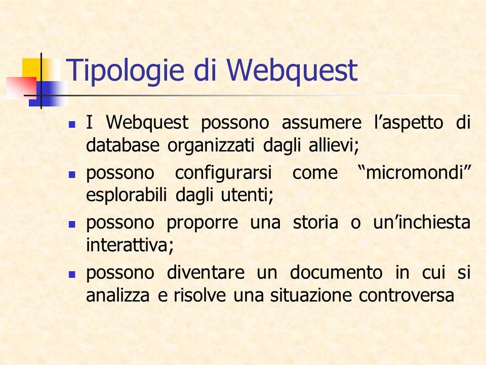 Tipologie di Webquest I Webquest possono assumere laspetto di database organizzati dagli allievi; possono configurarsi come micromondi esplorabili dag