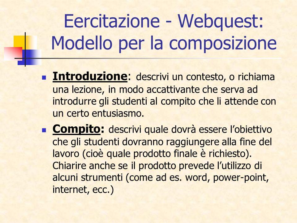 Eercitazione - Webquest: Modello per la composizione Introduzione: descrivi un contesto, o richiama una lezione, in modo accattivante che serva ad int