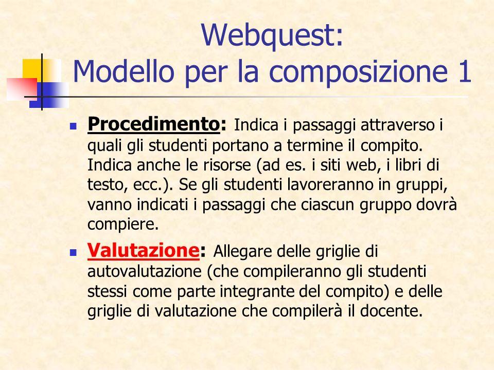 Webquest: Modello per la composizione 1 Procedimento: Indica i passaggi attraverso i quali gli studenti portano a termine il compito. Indica anche le