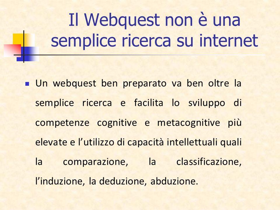 Il Webquest non è una semplice ricerca su internet Un webquest ben preparato va ben oltre la semplice ricerca e facilita lo sviluppo di competenze cog