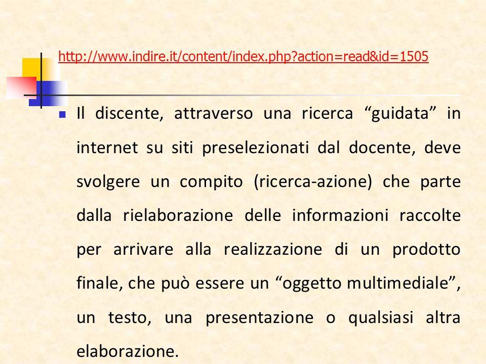 http://www.indire.it/content/index.php?action=read&id=1505 Il discente, attraverso una ricerca guidata in internet su siti preselezionati dal docente,