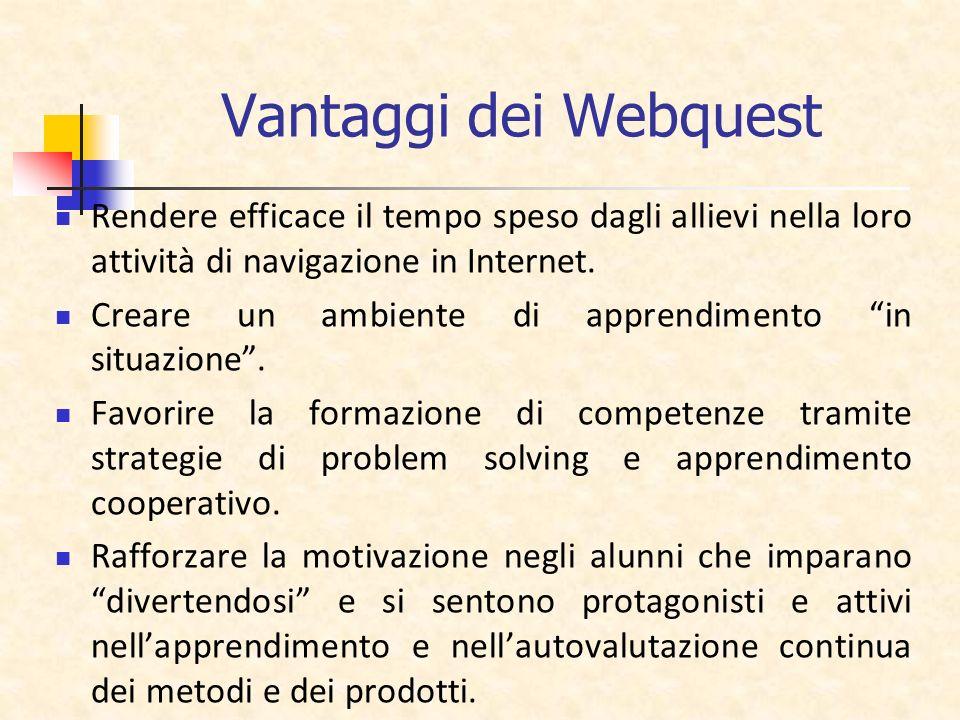Vantaggi dei Webquest Rendere efficace il tempo speso dagli allievi nella loro attività di navigazione in Internet. Creare un ambiente di apprendiment