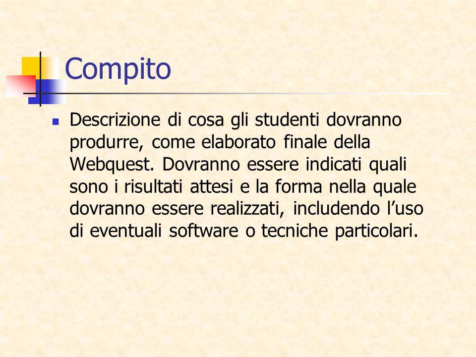 Compito Descrizione di cosa gli studenti dovranno produrre, come elaborato finale della Webquest. Dovranno essere indicati quali sono i risultati atte