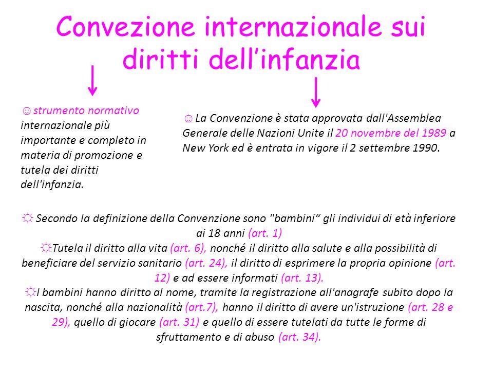 Convezione internazionale sui diritti dellinfanzia strumento normativo internazionale più importante e completo in materia di promozione e tutela dei