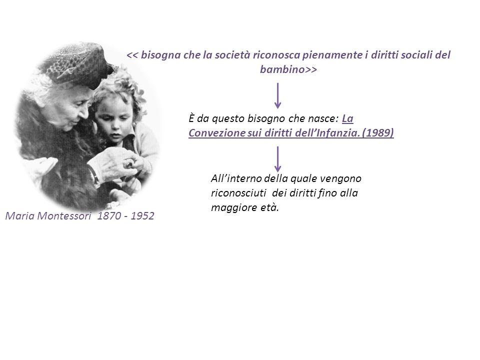 Maria Montessori 1870 - 1952 > È da questo bisogno che nasce: La Convezione sui diritti dellInfanzia. (1989) Allinterno della quale vengono riconosciu