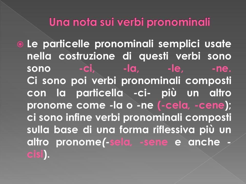 Le particelle pronominali semplici usate nella costruzione di questi verbi sono sono -ci, -la, -le, -ne. Ci sono poi verbi pronominali composti con la
