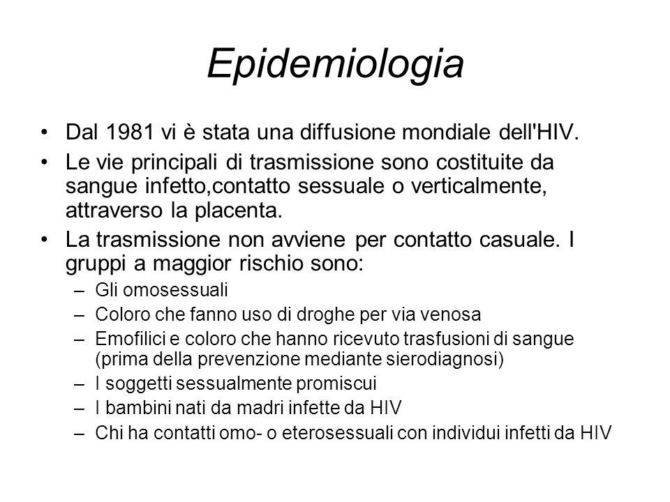 Epidemiologia Dal 1981 vi è stata una diffusione mondiale dell'HIV. Le vie principali di trasmissione sono costituite da sangue infetto,contatto sessu