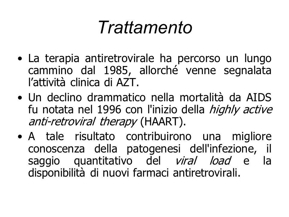 Trattamento La terapia antiretrovirale ha percorso un lungo cammino dal 1985, allorché venne segnalata lattività clinica di AZT. Un declino drammatico