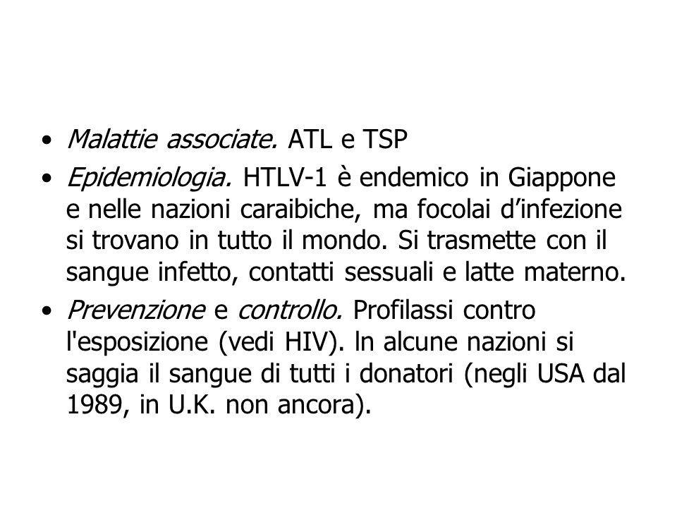 Malattie associate. ATL e TSP Epidemiologia. HTLV-1 è endemico in Giappone e nelle nazioni caraibiche, ma focolai dinfezione si trovano in tutto il mo