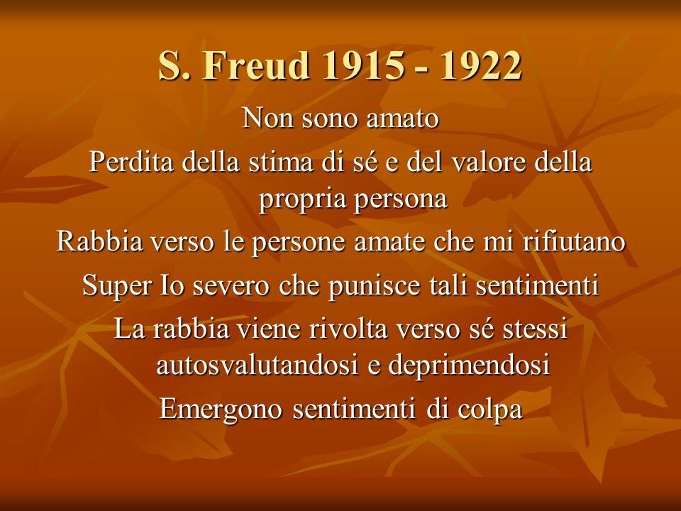 S. Freud 1915 - 1922 Non sono amato Perdita della stima di sé e del valore della propria persona Rabbia verso le persone amate che mi rifiutano Super