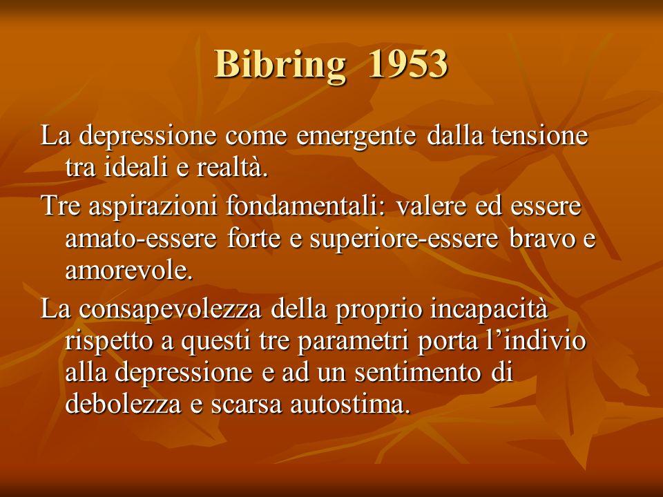 Bibring 1953 La depressione come emergente dalla tensione tra ideali e realtà. Tre aspirazioni fondamentali: valere ed essere amato-essere forte e sup