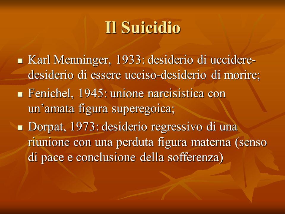 Il Suicidio Karl Menninger, 1933: desiderio di uccidere- desiderio di essere ucciso-desiderio di morire; Karl Menninger, 1933: desiderio di uccidere-