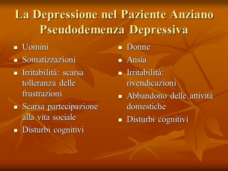 La Depressione nel Paziente Anziano Pseudodemenza Depressiva Uomini Uomini Somatizzazioni Somatizzazioni Irritabilità: scarsa tolleranza delle frustra