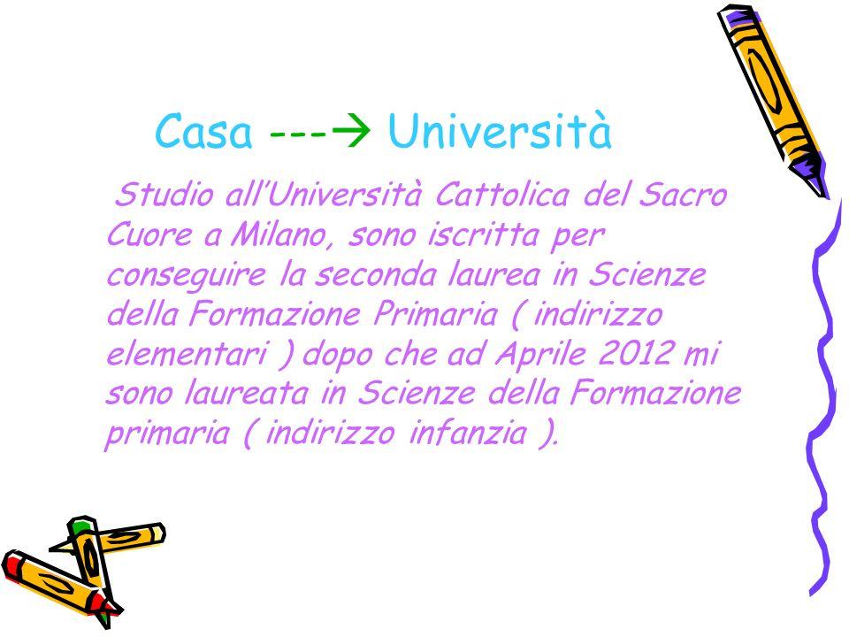 Casa --- Università Studio allUniversità Cattolica del Sacro Cuore a Milano, sono iscritta per conseguire la seconda laurea in Scienze della Formazione Primaria ( indirizzo elementari ) dopo che ad Aprile 2012 mi sono laureata in Scienze della Formazione primaria ( indirizzo infanzia ).