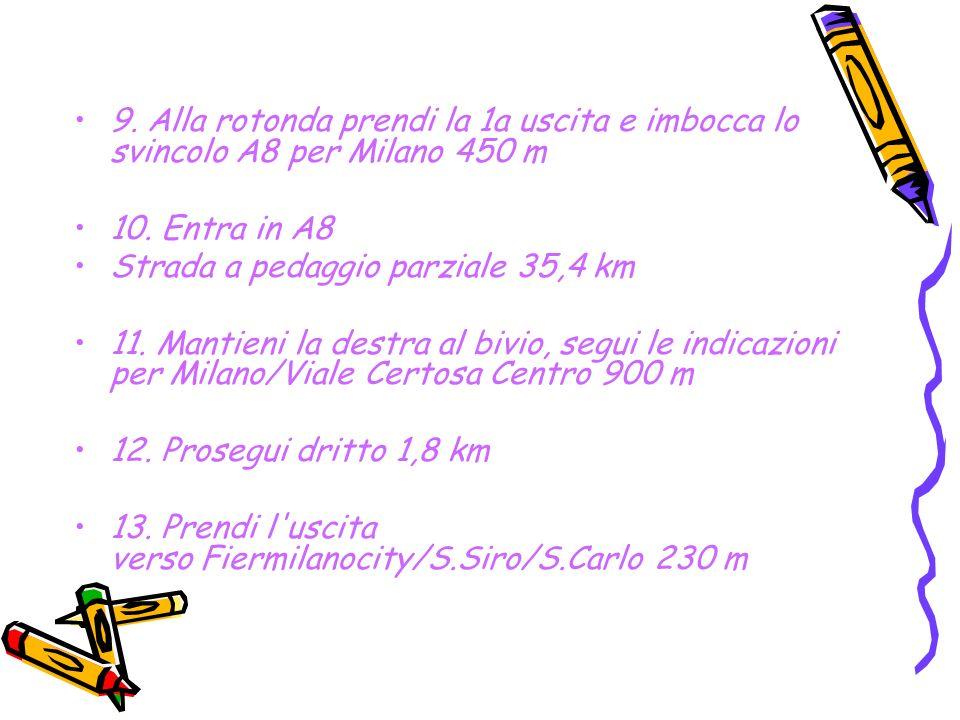 9. Alla rotonda prendi la 1a uscita e imbocca lo svincolo A8 per Milano 450 m 10.