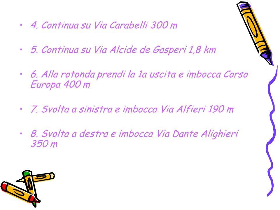 4. Continua su Via Carabelli 300 m 5. Continua su Via Alcide de Gasperi 1,8 km 6.