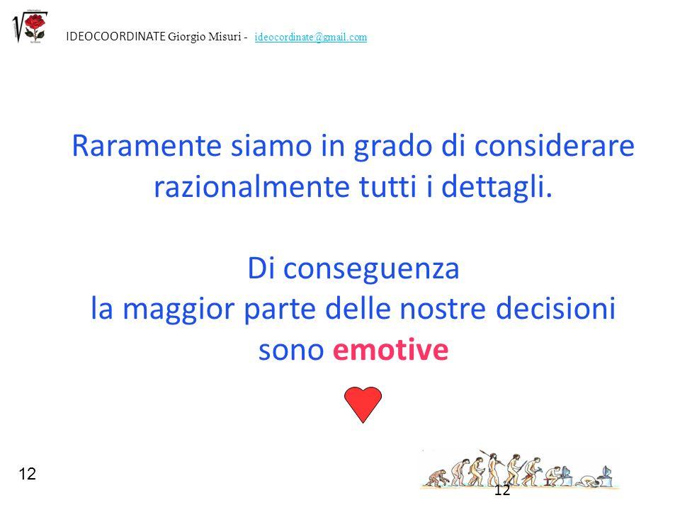 12 IDEOCOORDINATE Giorgio Misuri - ideocordinate@gmail.com 12 Raramente siamo in grado di considerare razionalmente tutti i dettagli. Di conseguenza l
