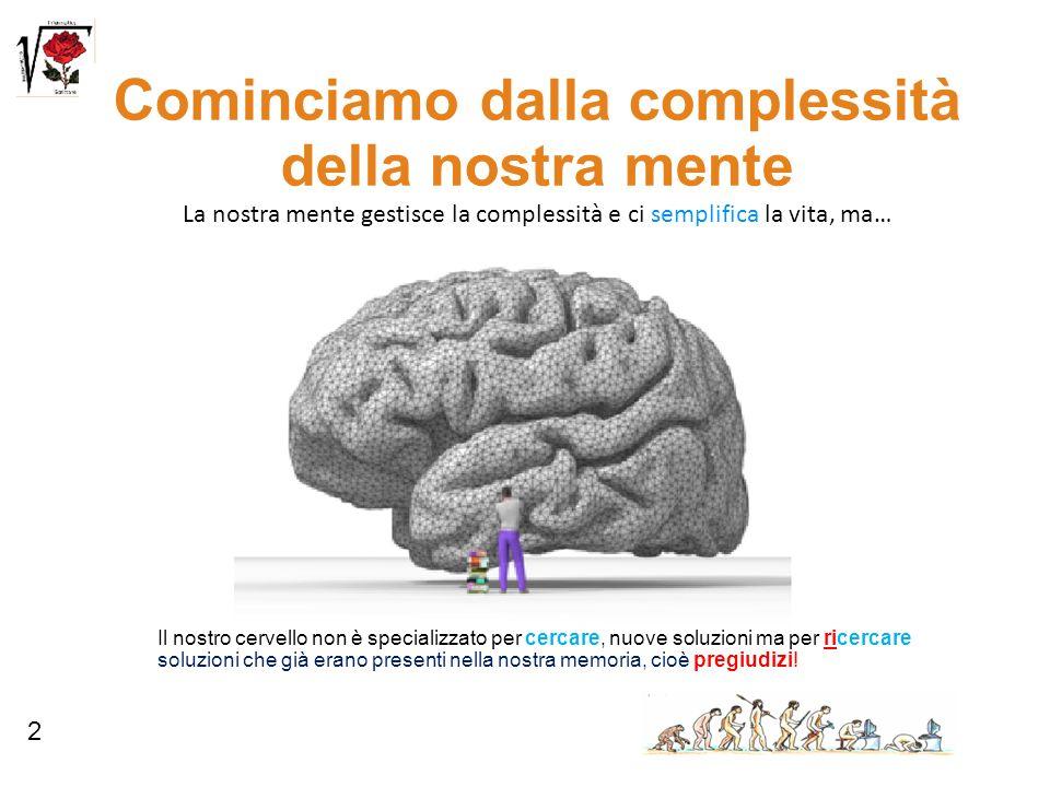 2 Cominciamo dalla complessità della nostra mente La nostra mente gestisce la complessità e ci semplifica la vita, ma… Il nostro cervello non è specia