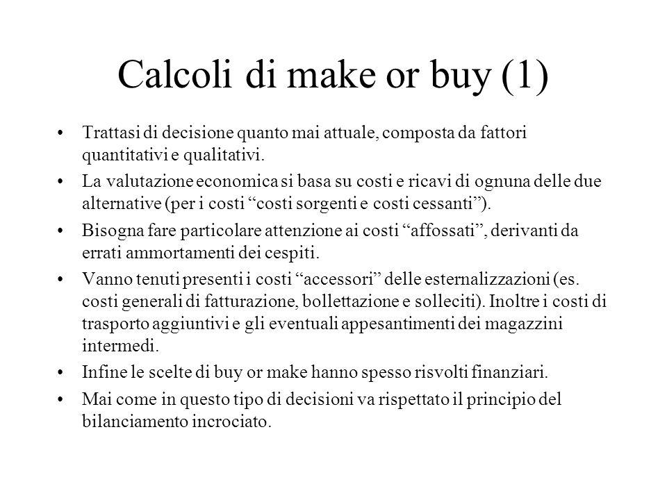 Calcoli di make or buy (1) Trattasi di decisione quanto mai attuale, composta da fattori quantitativi e qualitativi. La valutazione economica si basa