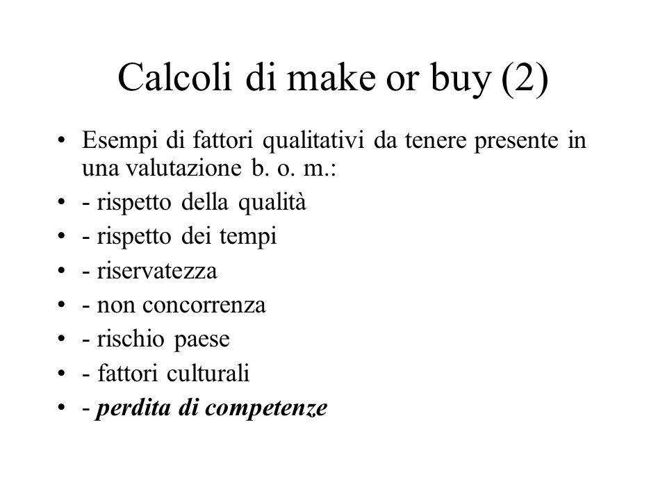 Calcoli di make or buy (2) Esempi di fattori qualitativi da tenere presente in una valutazione b. o. m.: - rispetto della qualità - rispetto dei tempi