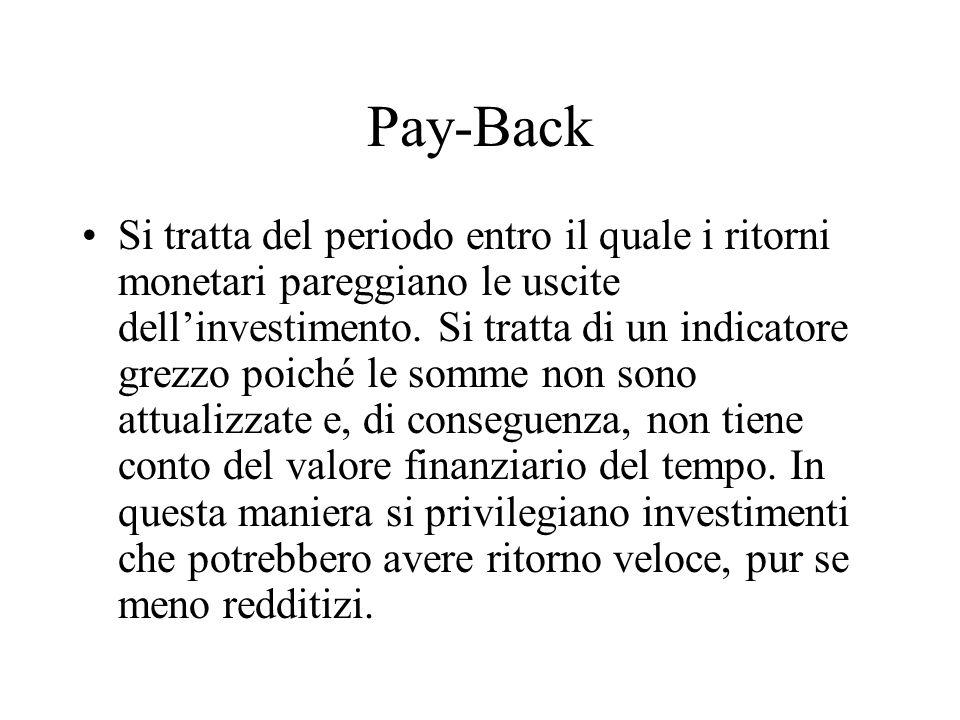 Pay-Back Si tratta del periodo entro il quale i ritorni monetari pareggiano le uscite dellinvestimento. Si tratta di un indicatore grezzo poiché le so