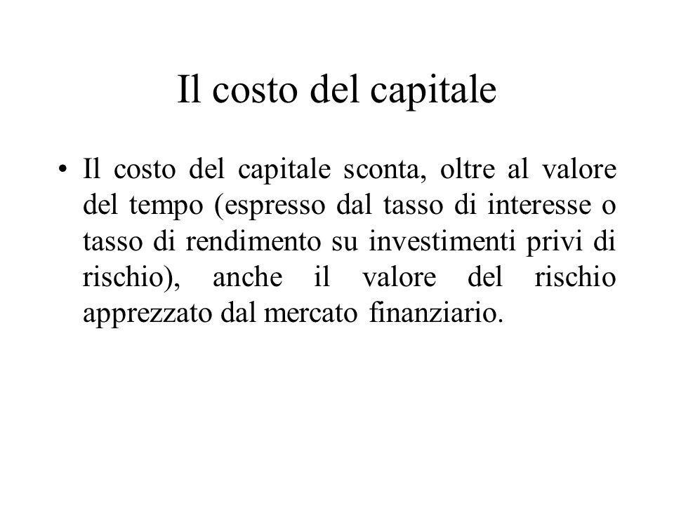 Il costo del capitale Il costo del capitale sconta, oltre al valore del tempo (espresso dal tasso di interesse o tasso di rendimento su investimenti p