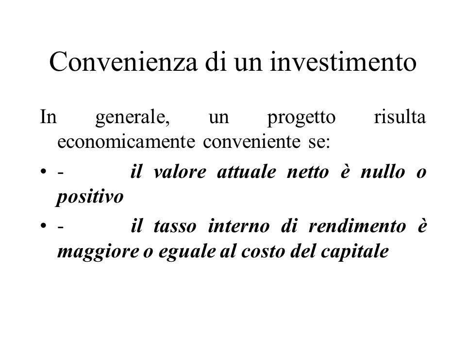 Convenienza di un investimento In generale, un progetto risulta economicamente conveniente se: - il valore attuale netto è nullo o positivo - il tasso