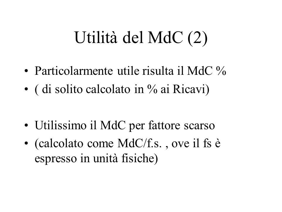 Utilità del MdC (2) Particolarmente utile risulta il MdC % ( di solito calcolato in % ai Ricavi) Utilissimo il MdC per fattore scarso (calcolato come