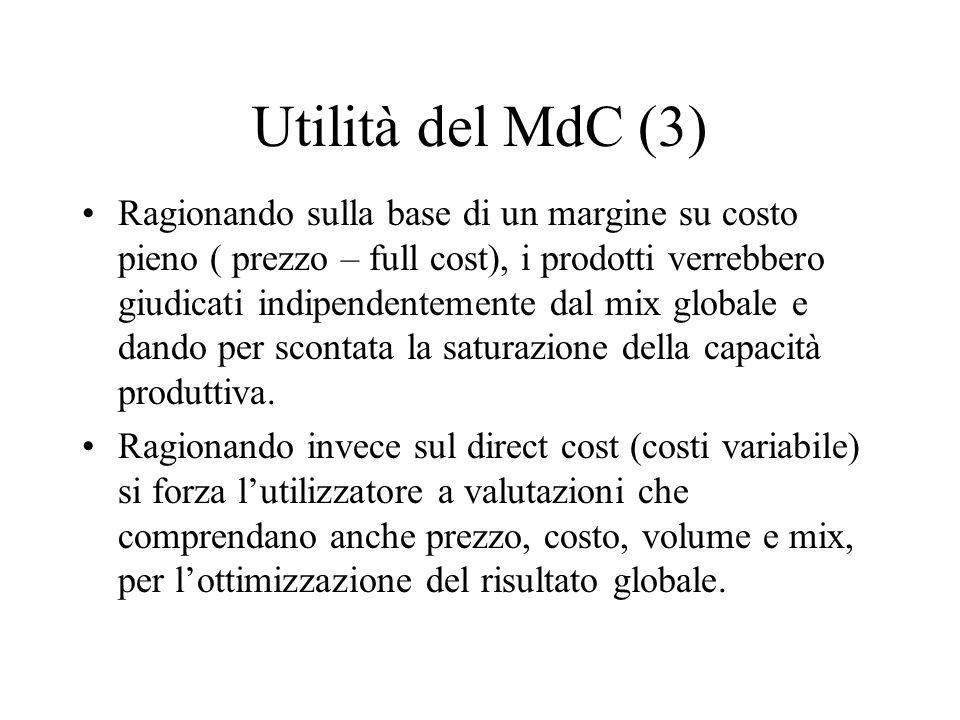 Utilità del MdC (3) Ragionando sulla base di un margine su costo pieno ( prezzo – full cost), i prodotti verrebbero giudicati indipendentemente dal mi