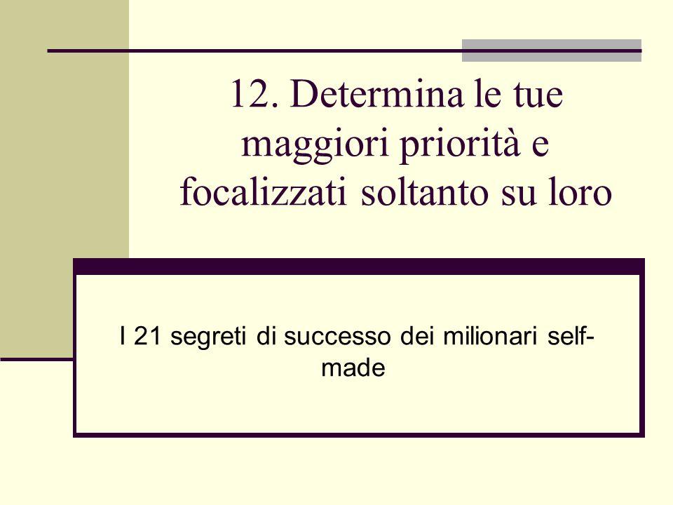 12. Determina le tue maggiori priorità e focalizzati soltanto su loro I 21 segreti di successo dei milionari self- made