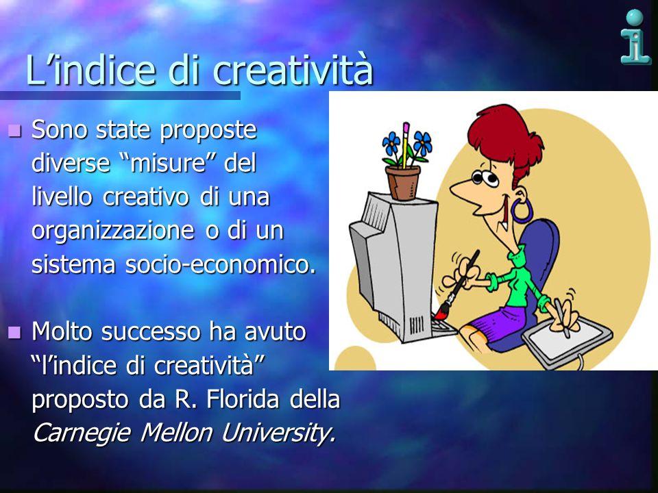 Lindice di creatività Sono state proposte Sono state proposte diverse misure del livello creativo di una organizzazione o di un sistema socio-economic