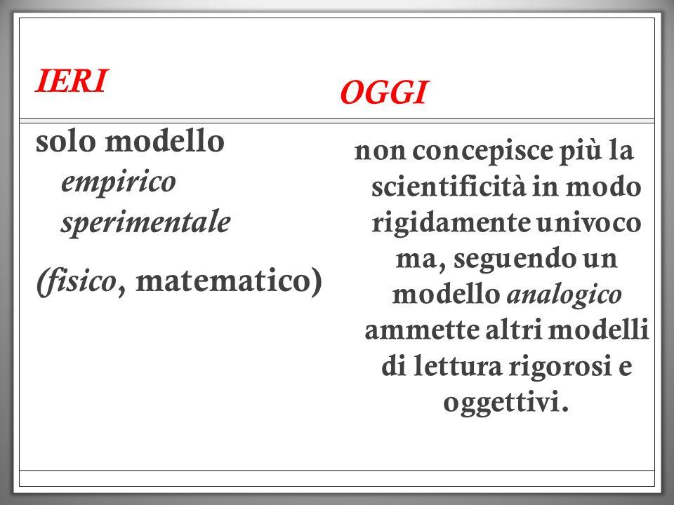 IERI solo modello empirico sperimentale (fisico, matematico) OGGI non concepisce più la scientificità in modo rigidamente univoco ma, seguendo un mode
