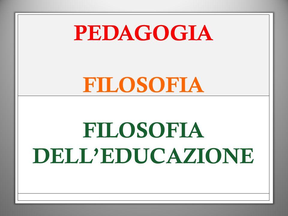 PEDAGOGIA FILOSOFIA FILOSOFIA DELLEDUCAZIONE