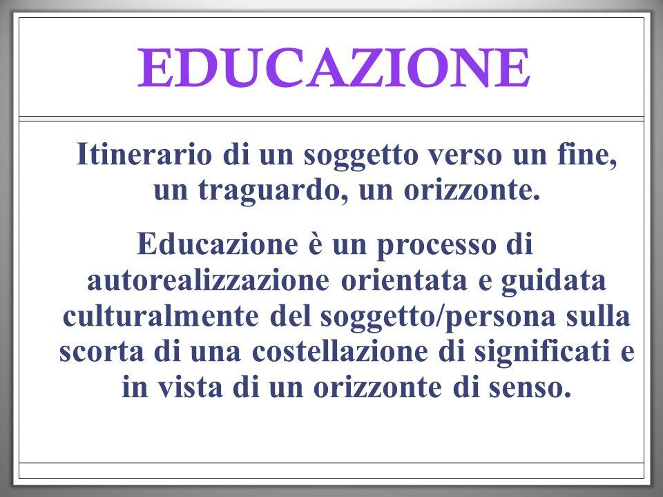 EDUCAZIONE Itinerario di un soggetto verso un fine, un traguardo, un orizzonte. Educazione è un processo di autorealizzazione orientata e guidata cult