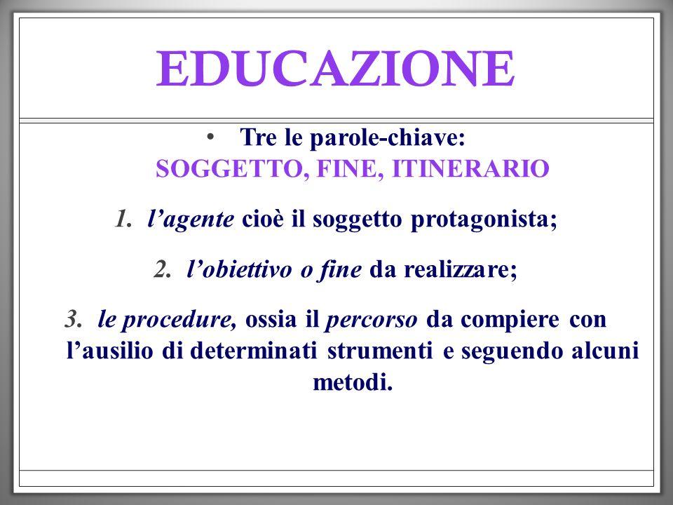 EDUCAZIONE SOGGETTO, FINE, ITINERARIO Tre le parole-chiave: SOGGETTO, FINE, ITINERARIO 1.lagente cioè il soggetto protagonista; 2.lobiettivo o fine da
