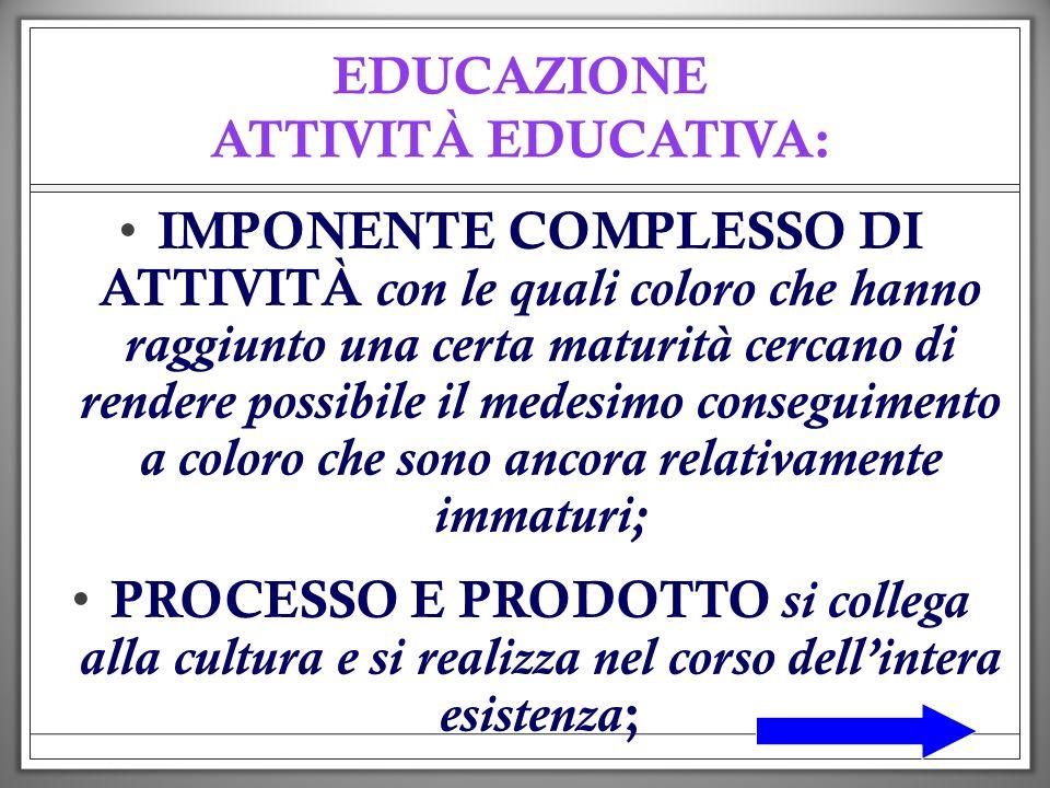 EDUCAZIONE ATTIVITÀ EDUCATIVA: IMPONENTE COMPLESSO DI ATTIVITÀ con le quali coloro che hanno raggiunto una certa maturità cercano di rendere possibile