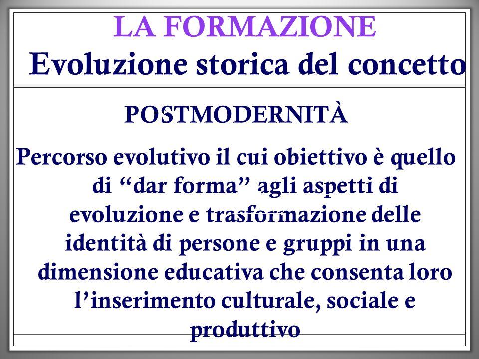LA FORMAZIONE Evoluzione storica del concetto POSTMODERNITÀ Percorso evolutivo il cui obiettivo è quello di dar forma agli aspetti di evoluzione e tra