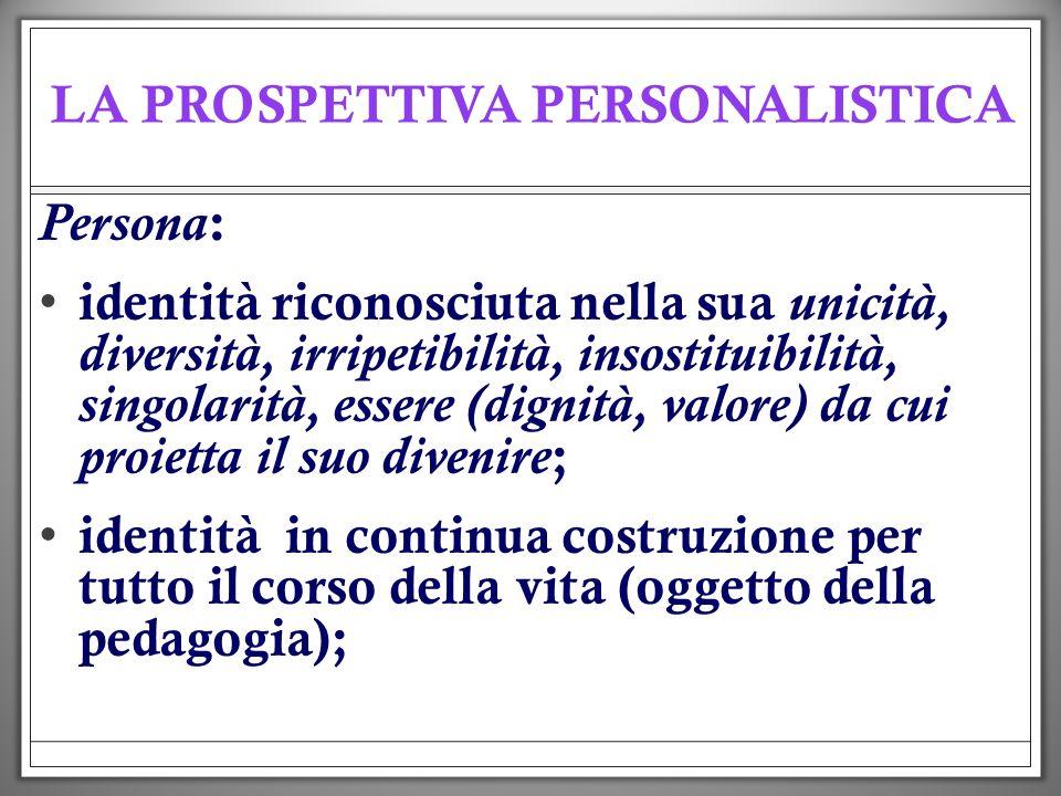 LA PROSPETTIVA PERSONALISTICA Persona : identità riconosciuta nella sua unicità, diversità, irripetibilità, insostituibilità, singolarità, essere (dig