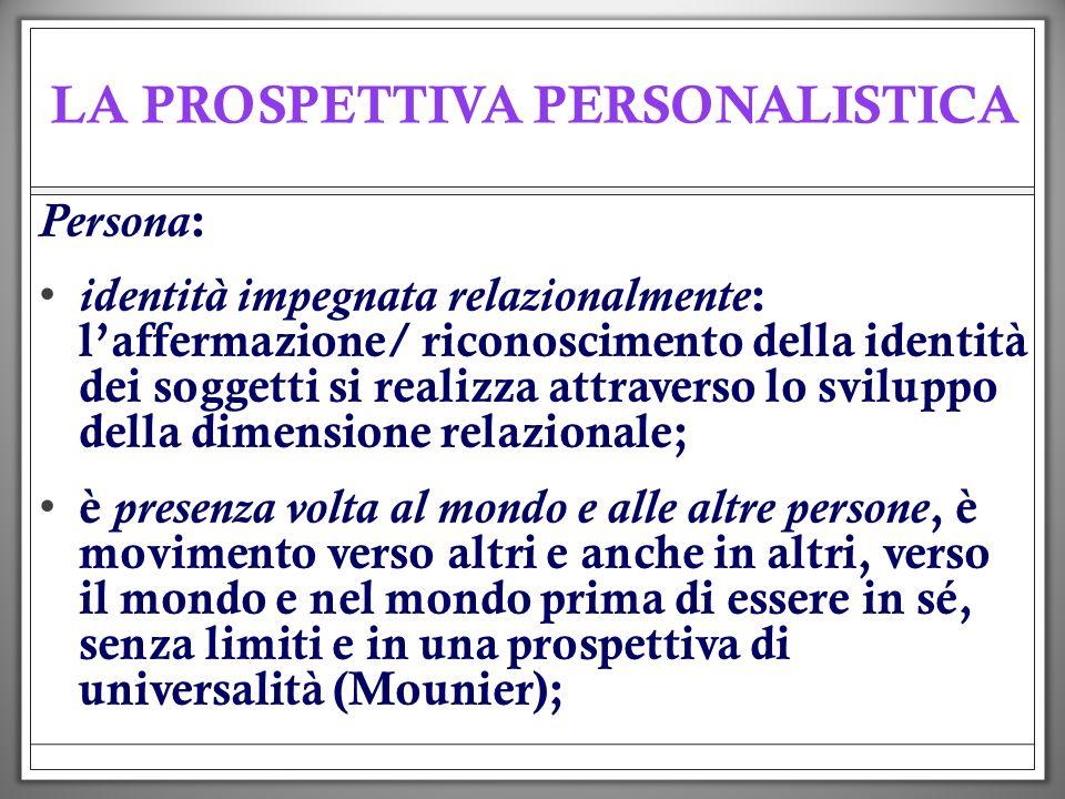 LA PROSPETTIVA PERSONALISTICA Persona : identità impegnata relazionalmente : laffermazione/ riconoscimento della identità dei soggetti si realizza att