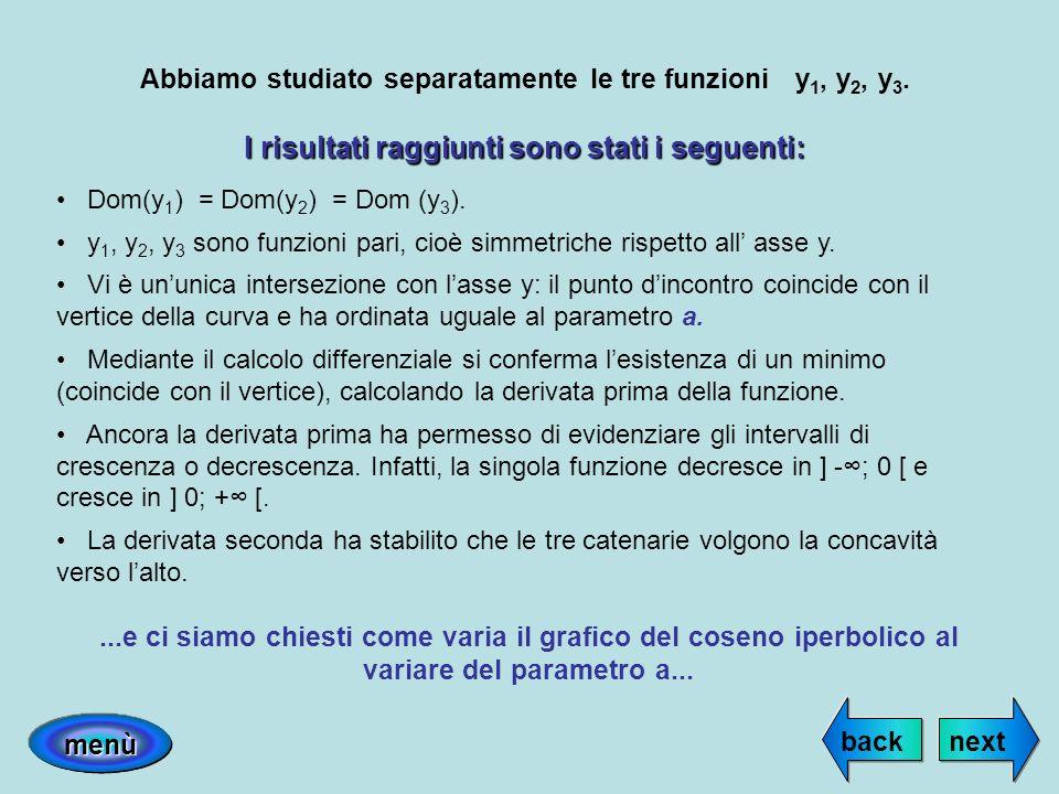 Abbiamo studiato separatamente le tre funzioni y 1, y 2, y 3. I risultati raggiunti sono stati i seguenti: Dom(y 1 ) = Dom(y 2 ) = Dom (y 3 ). y 1, y