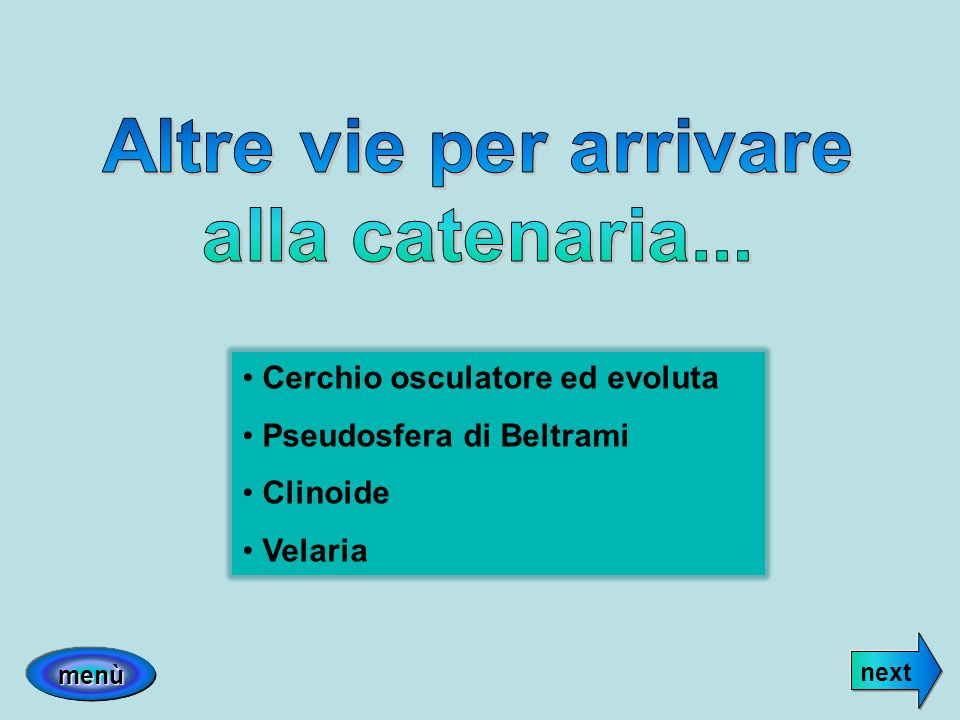 Cerchio osculatore ed evoluta Pseudosfera di Beltrami Clinoide Velaria next menù