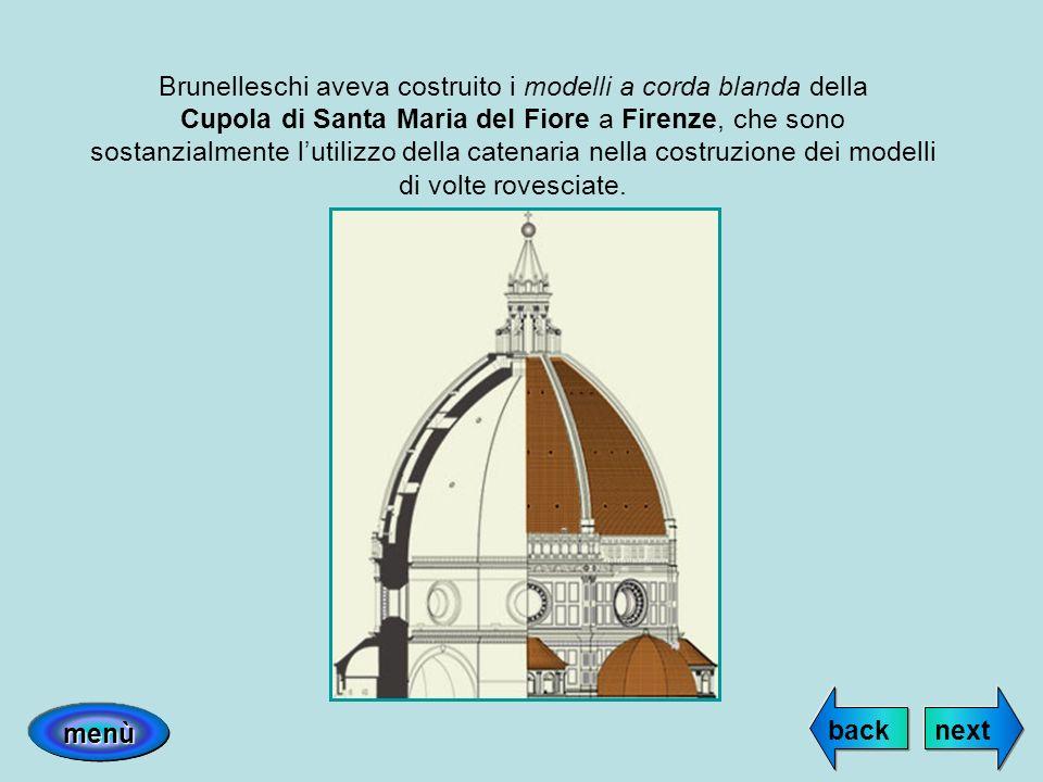 Brunelleschi aveva costruito i modelli a corda blanda della Cupola di Santa Maria del Fiore a Firenze, che sono sostanzialmente lutilizzo della catena