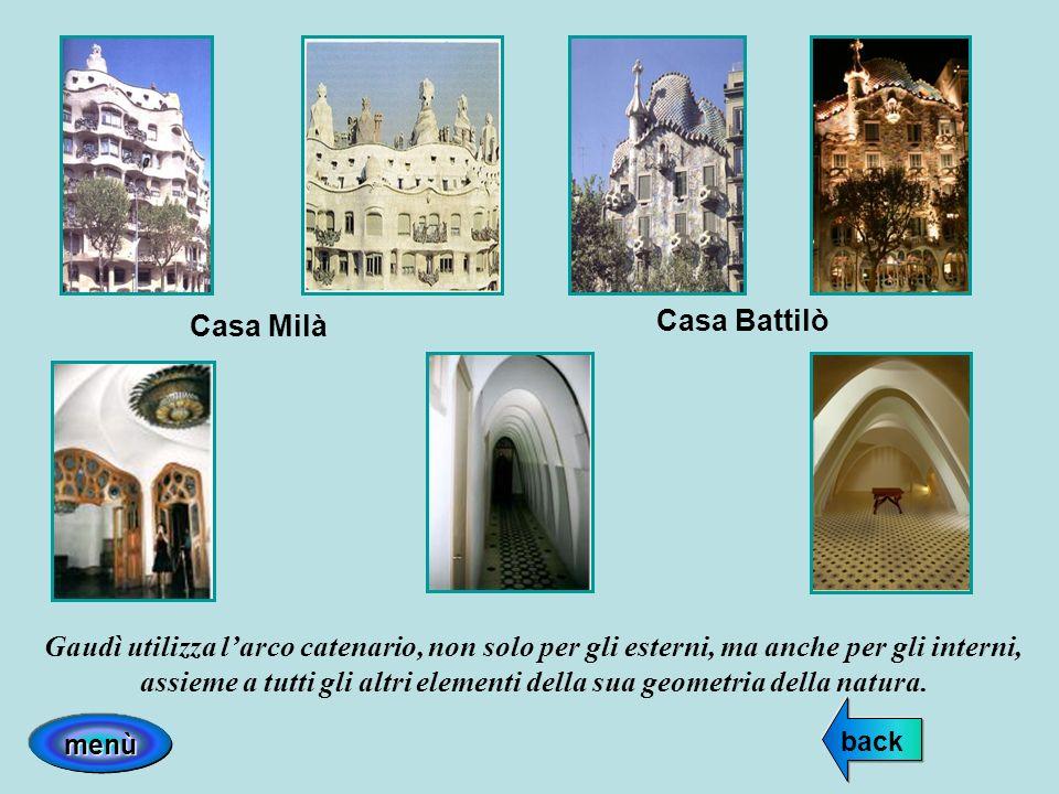 Casa Battilò Casa Milà Gaudì utilizza larco catenario, non solo per gli esterni, ma anche per gli interni, assieme a tutti gli altri elementi della su