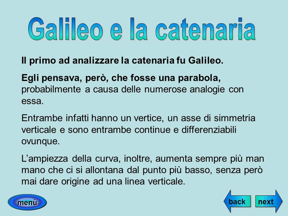 Il primo ad analizzare la catenaria fu Galileo. Egli pensava, però, che fosse una parabola, probabilmente a causa delle numerose analogie con essa. En