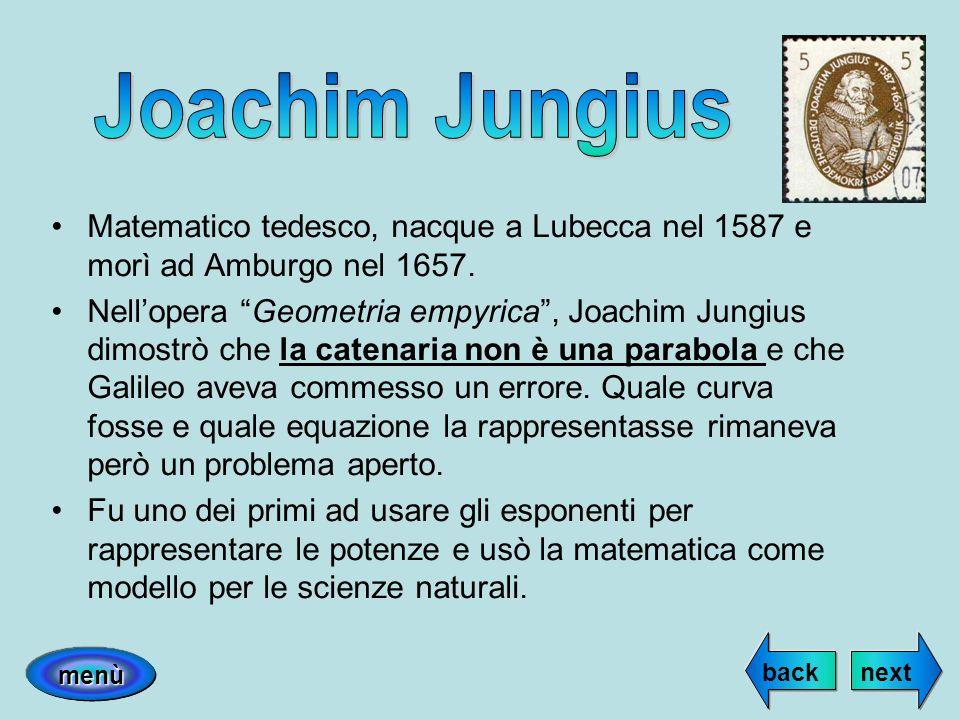 Matematico tedesco, nacque a Lubecca nel 1587 e morì ad Amburgo nel 1657. Nellopera Geometria empyrica, Joachim Jungius dimostrò che la catenaria non